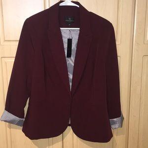 NWT Worthington 0X maroon rolled sleeve blazer